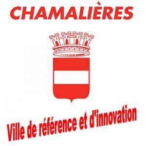 logo de la ville de Chamalières, blason et bandeau